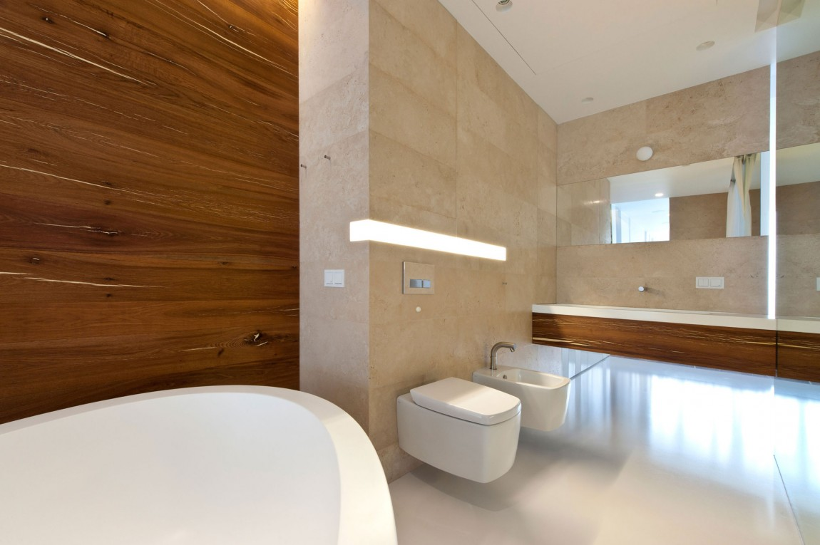 Apartment awash with walnut white for Bathroom decor 2012