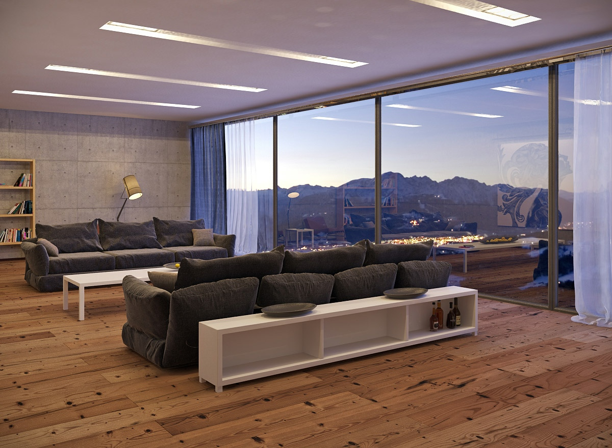 Living rooms with great views for Room design wood