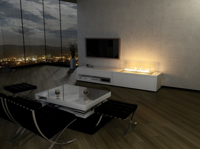 Open sided fireplace