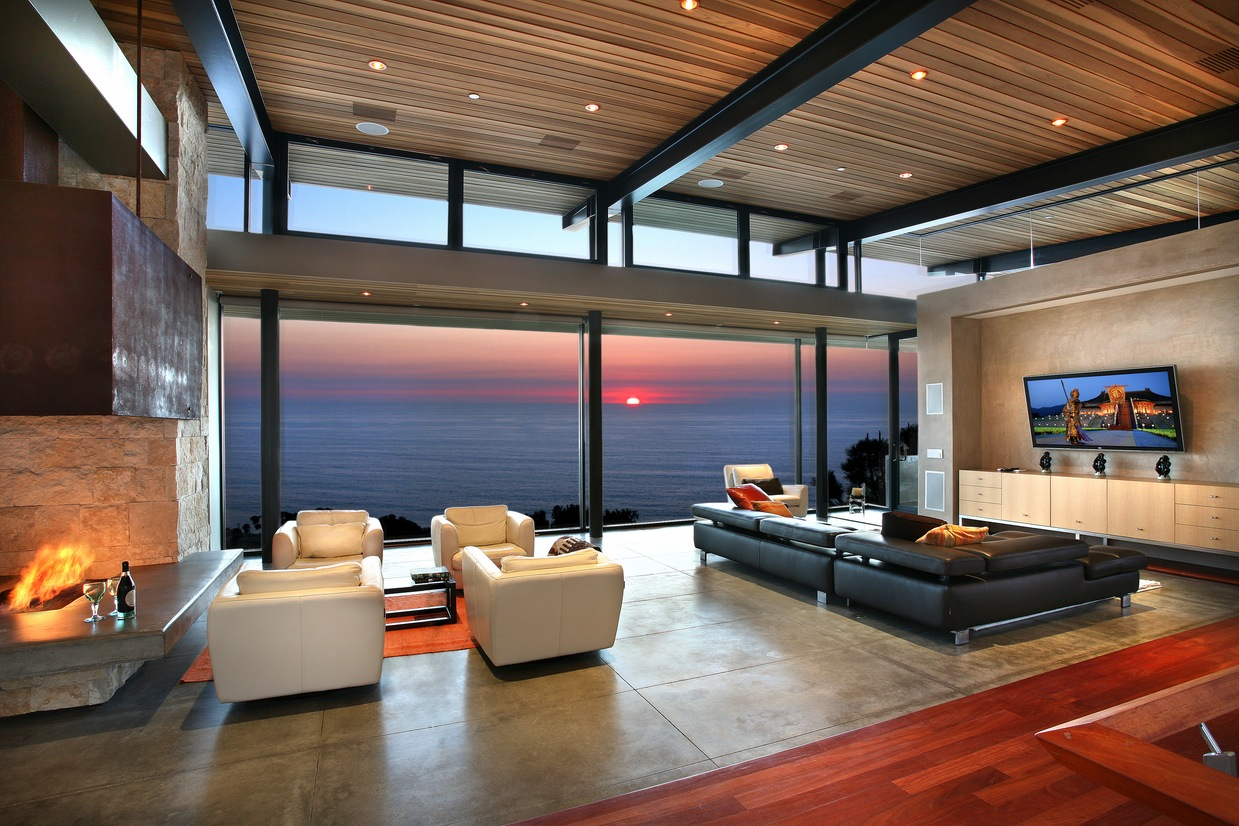 Panoramic ocean view modern living room interior design for Modern home living room