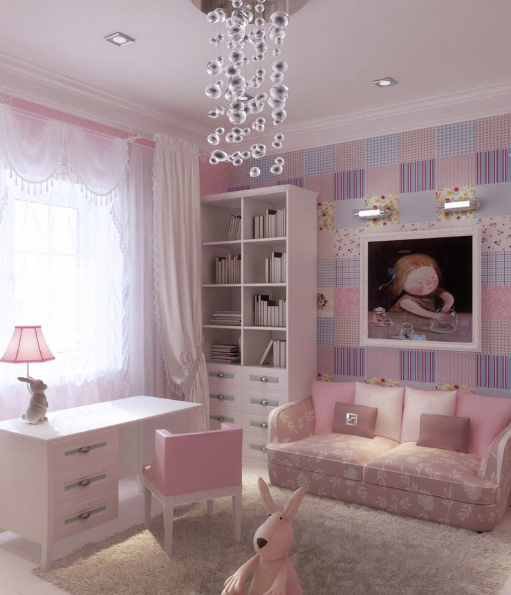 Pink Lilac Blue Girls Room Interior Design Ideas