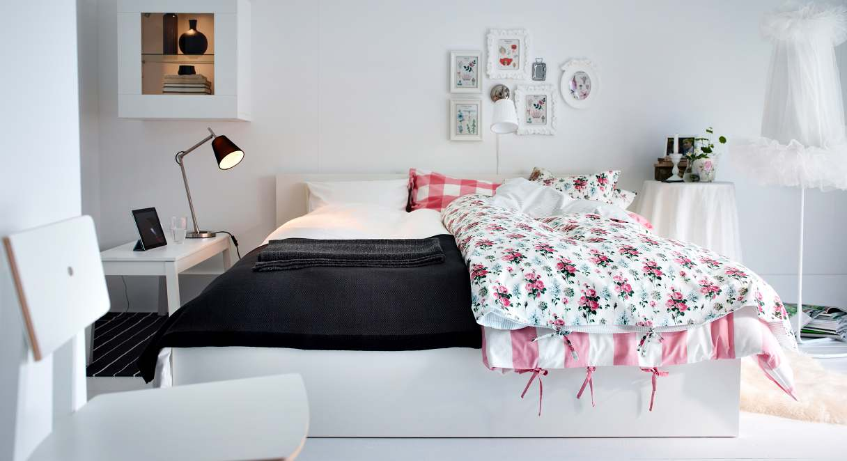 Ikea 2013 catalog Pink room with white furniture