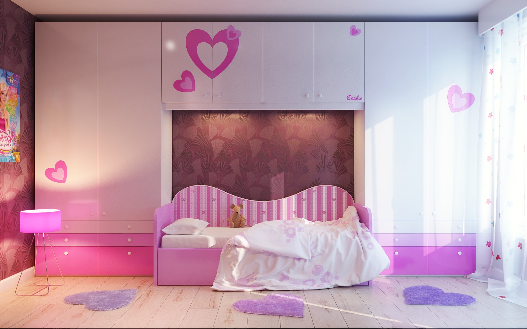 Pink white girls bedroom decor idea interior design ideas for Cute bedroom designs for small rooms