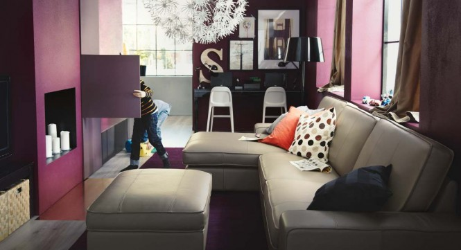 Purple cream living room