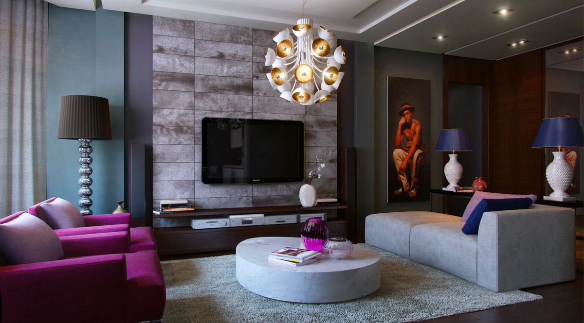 Living modern with nature tones color blasts Purple brown living room