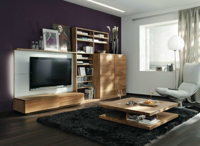 Purple white wood lounge