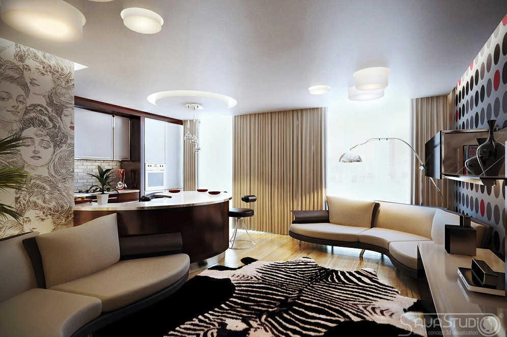 Modern Living Room Black And Red Modern Rooms wi...
