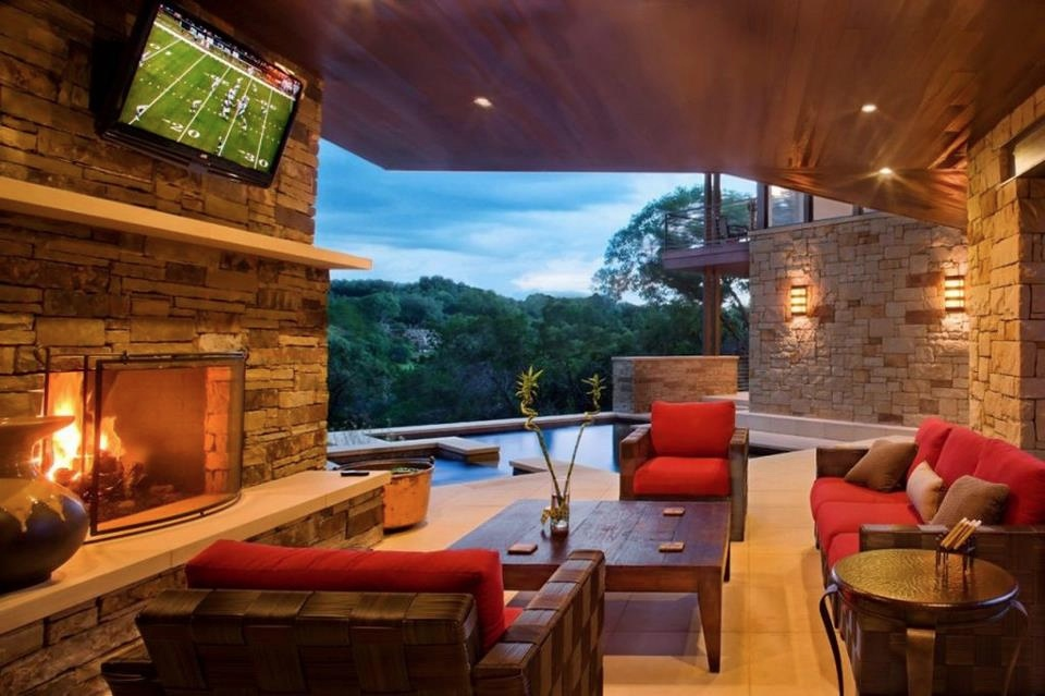 Living rooms with great views for Outdoor room with fireplace