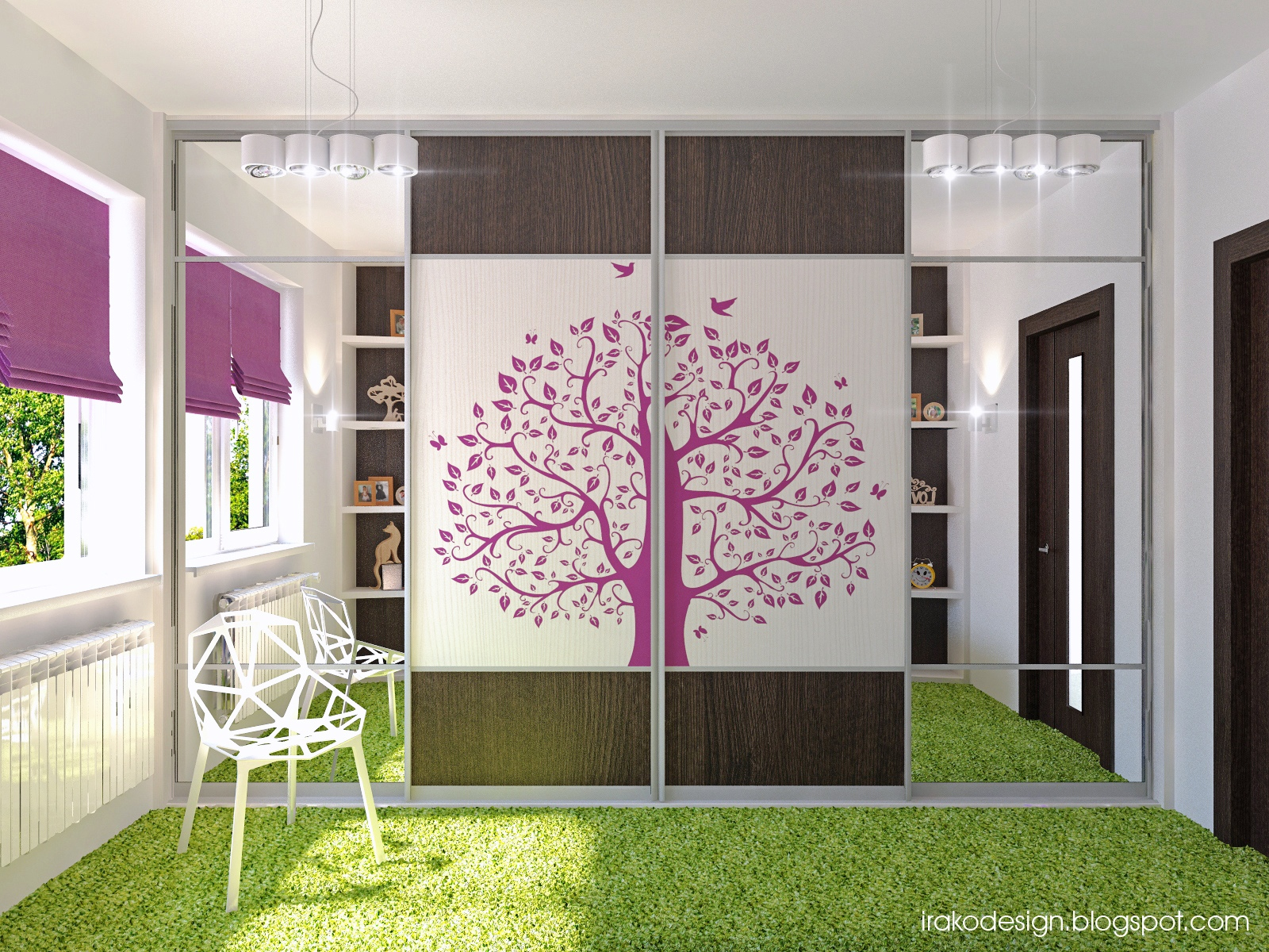 Room designer for girls - Tree Decal Girls Wardrobes