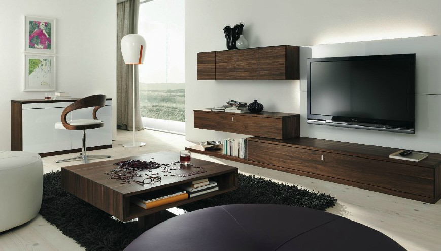 Wooden furniture in a contemporary setting for Drawing room furniture designs