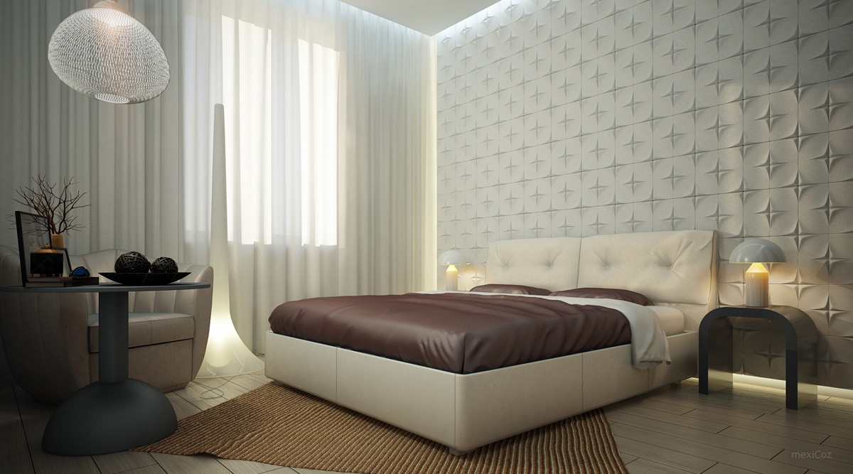 White bedroom textured feature wall interior design ideas for Feature wallpaper bedroom ideas