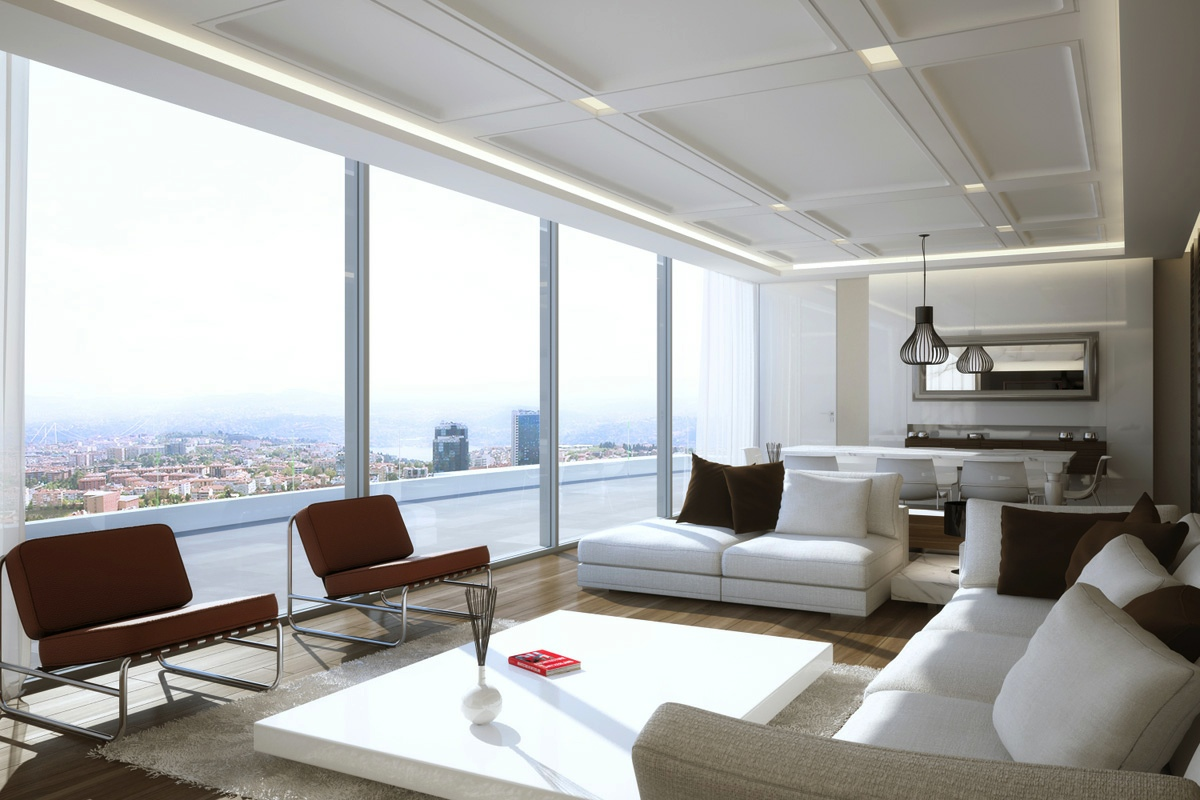 Living rooms with great views for White interior design living room