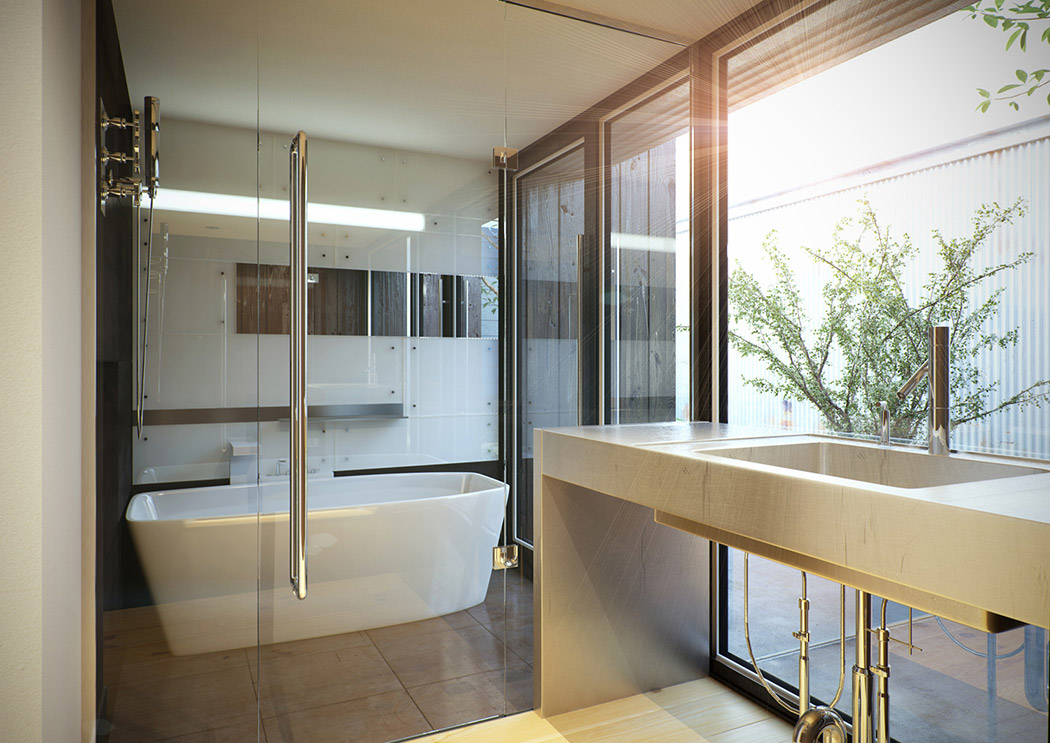 Modern japanese home for Modern chic bathroom designs