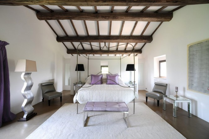 White lilac bedroom wooden ceiling beams
