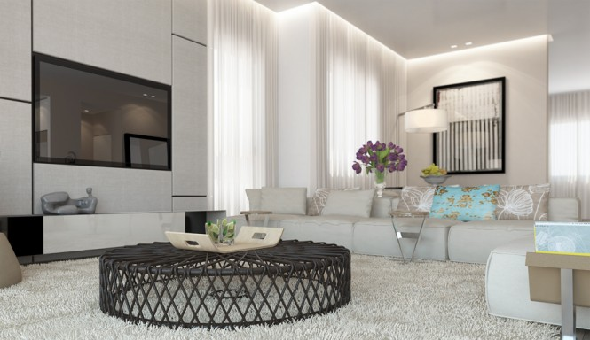 Each space is kept open and airy with the use of low-level furniture, wicker pieces, and loose fretwork screens to allow the eye to wander from area to area unobstructed.