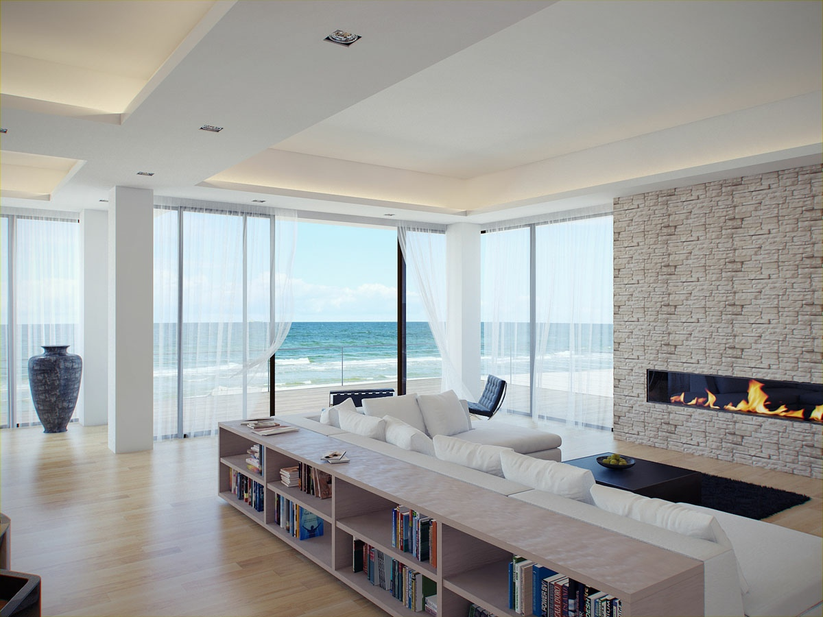Living rooms with great views for Modern house living room