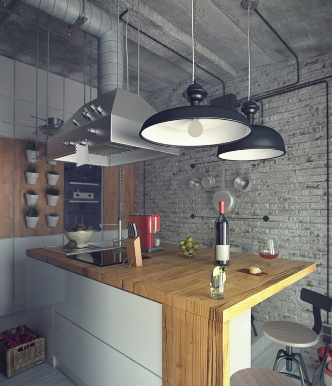 A distinctly industrial style runs throughout the living and kitchen areas, with exposed wiring and ducting above a large extractor fan looming over a modern kitchen island, and the familiar black and yellow sign strips that are usually seen on building sites. The furniture in these spaces does however have a softness about it that offsets the coldness of exposed brick walls and the angular junctions of utilitarian aspects.
