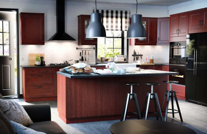 Wood black kitchen units