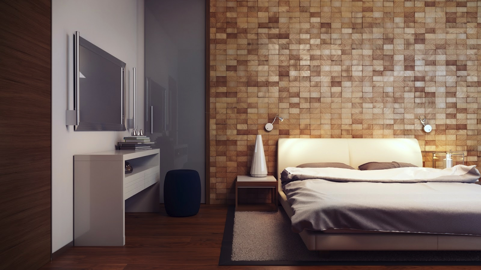 Wood block feature wall interior design ideas for Feature wallpaper bedroom ideas
