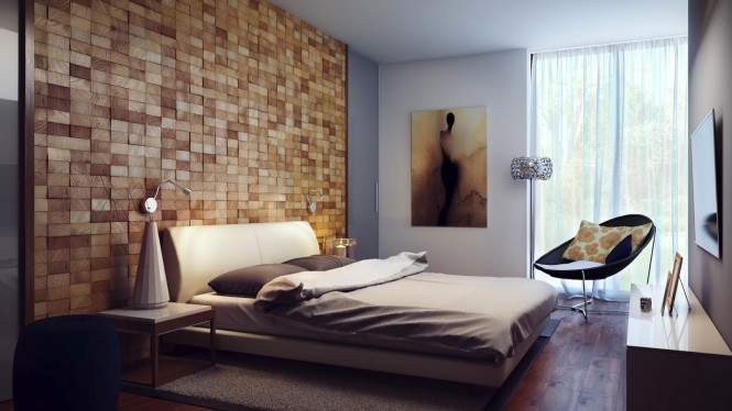Wood block headboard wall