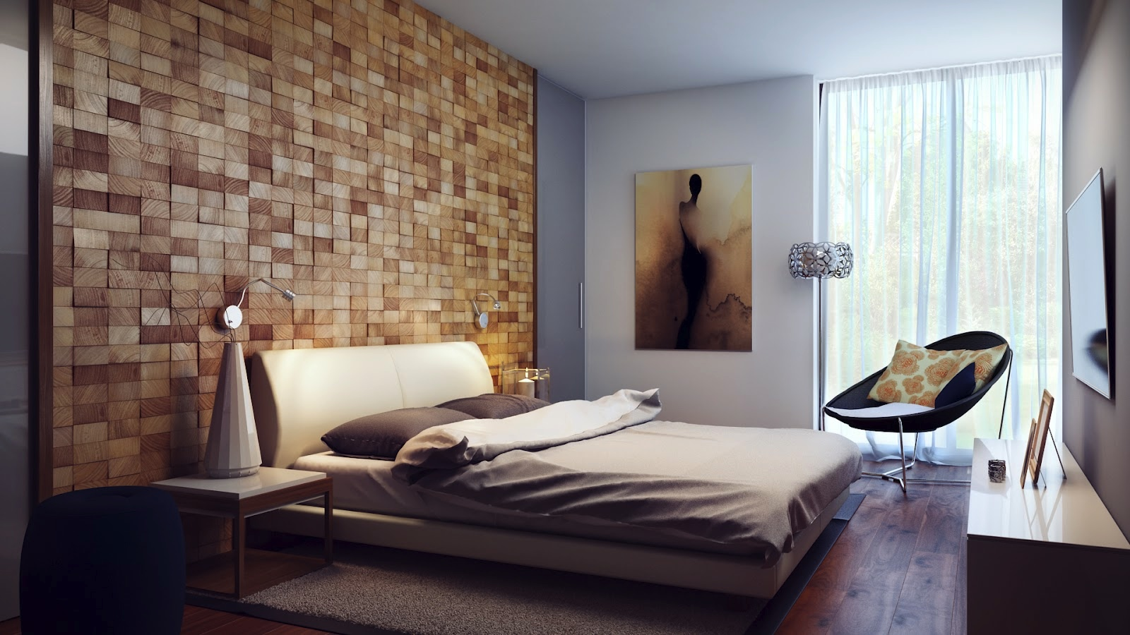 Wood Block Headboard Wall Interior Design Ideas