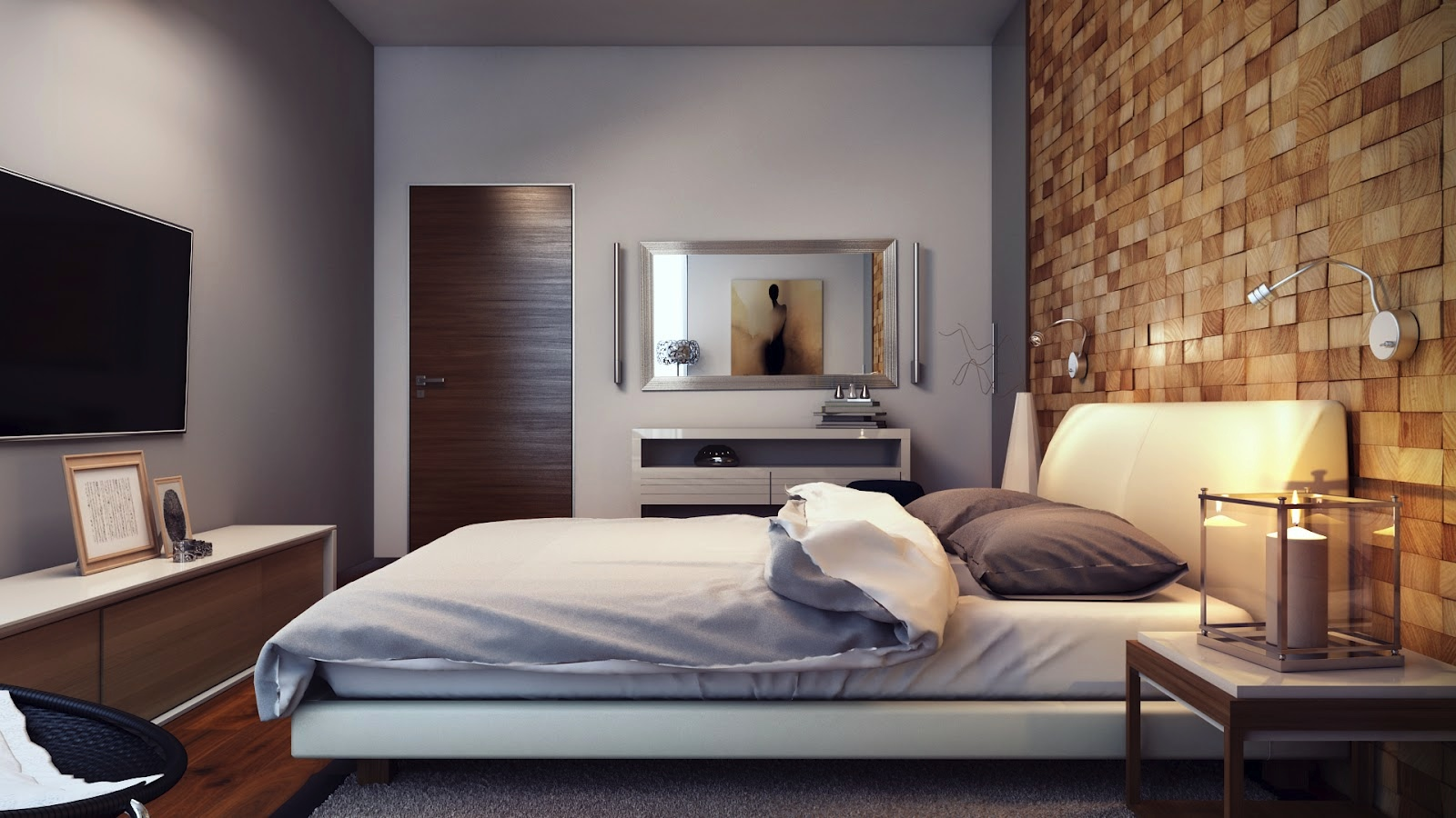 Unique wall texturing examples for Wooden bed interior design
