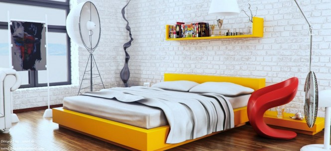 Yellow white red modern bedroom