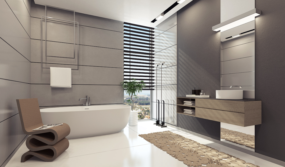 Apartment interior design inspiration for Grey bathroom decorating ideas