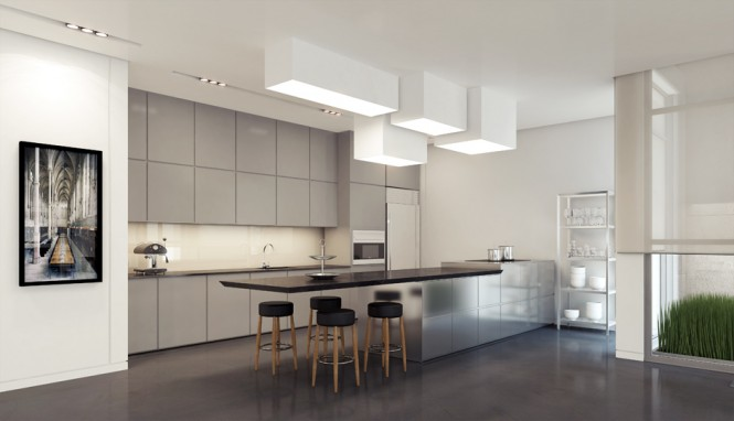1 Gray kitchen units