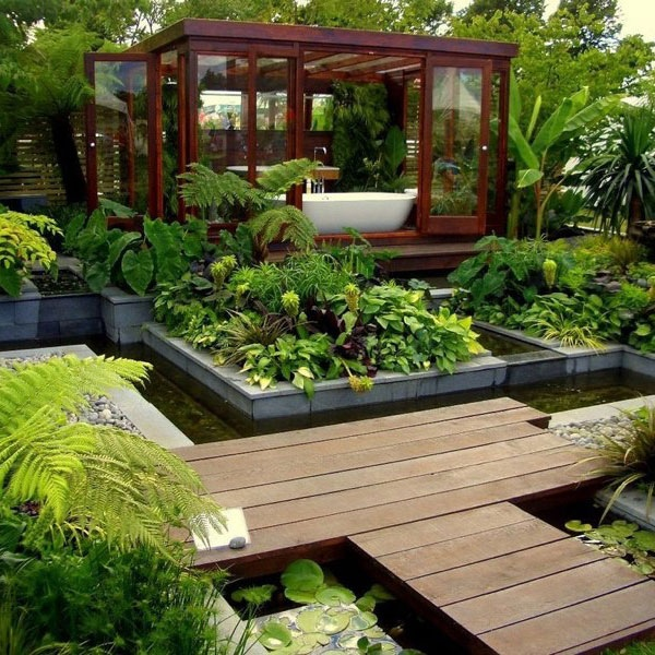 You could of course move your bathtub right out to the middle of your garden! Consider an independently standing garden room if you aren't overlooked by neighbors, or perhaps a small screened area just beyond the boundary to create a bath time veranda in the open air-though this is only recommended for those living in warmer climates!
