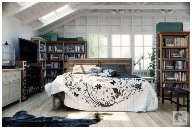 Via  N-StudioThis modern space is filled with character, using a mixed selection of furniture finishes and a graphic bedspread. Although design of the moment often rests on the minimalist side, this scheme uses life's souvenirs to breath life through the room, keeping books and knickknacks proudly on display.