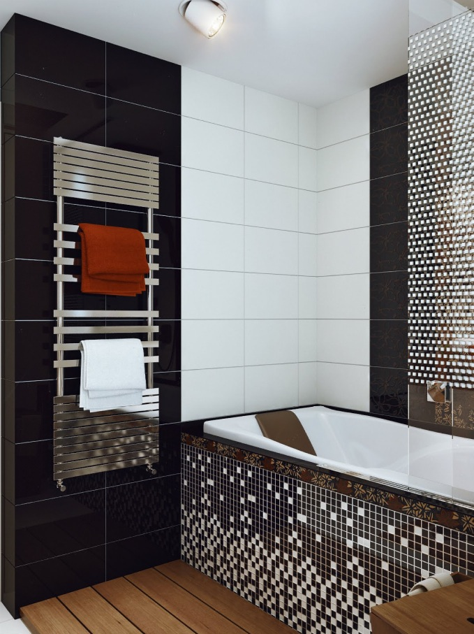 Black white mosaic bathroom tile interior design ideas for Black bathroom designs