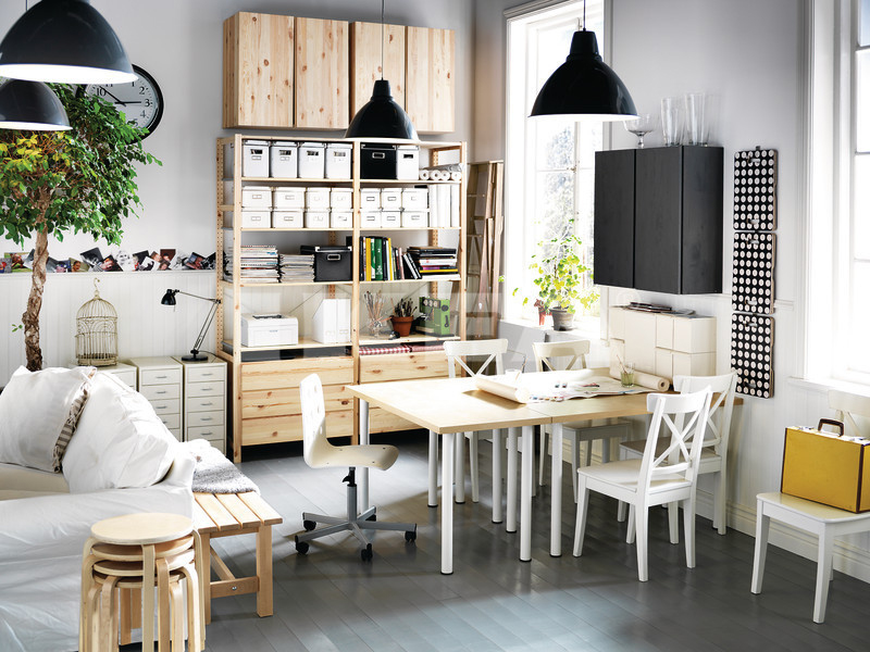 Black white pine wood home office space interior design ideas Ikea furniture home accessories