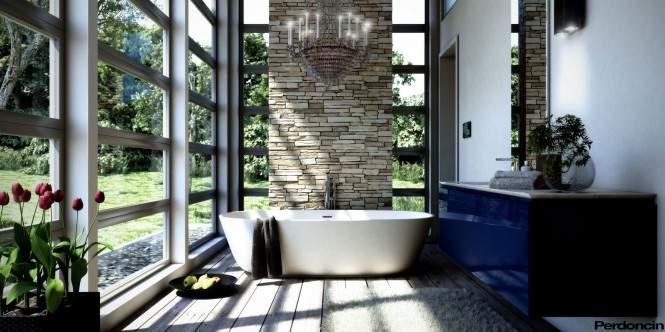 Via<br /> Davide P  Bathtubs with a View of Nature  Bathtubs with a View of Nature Blue bathroom vanity unit 665x332