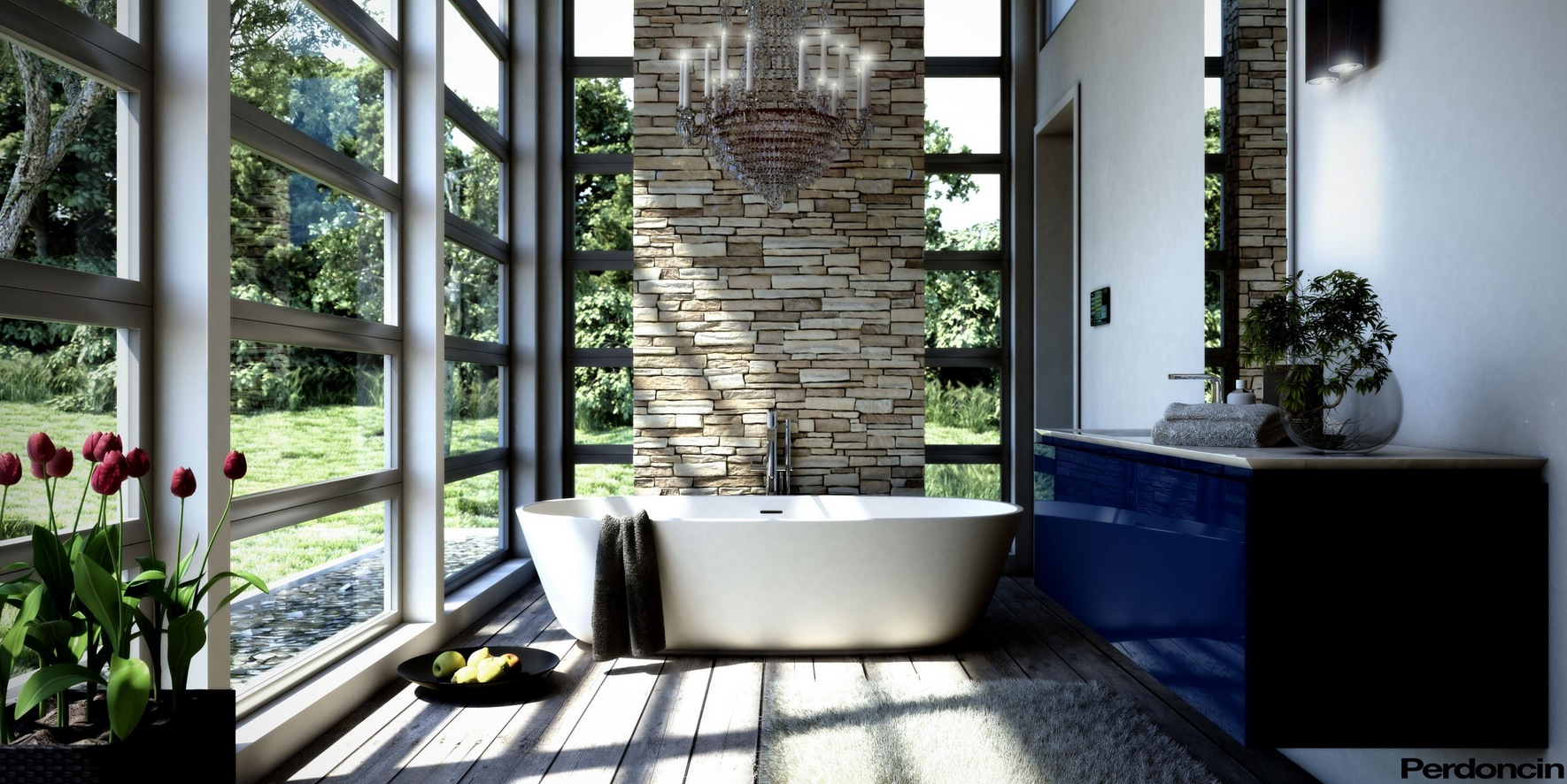 Bathtubs with a view of nature for Deco salle de bain zen et nature