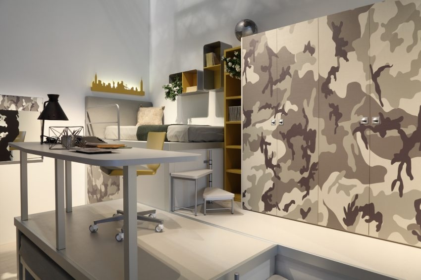 Camoflage Theme Bedroom Study Space Interior Design Ideas