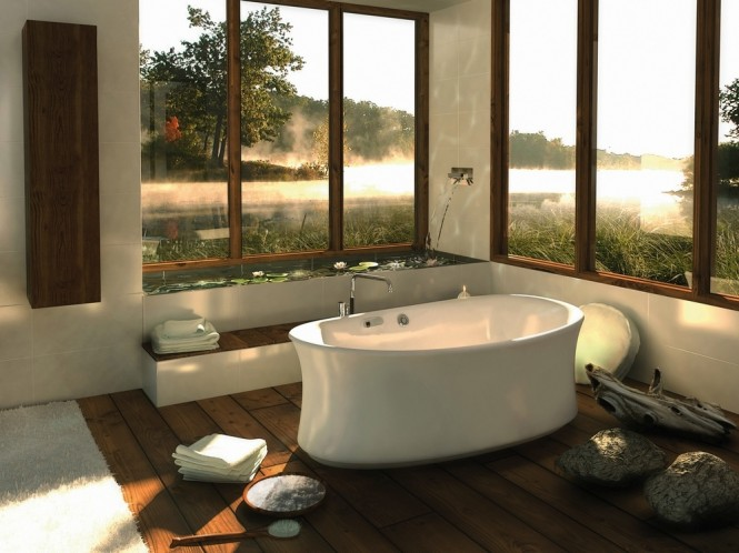 Central freestading bathtub  Bathtubs with a View of Nature  Bathtubs with a View of Nature Central freestading bathtub 665x498