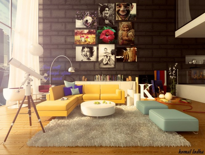 Keeping the backdrop dark and on the stark side allows the option of adding bold and colorful artwork without the danger of an over complicated result. Furniture can also steal some of the limelight in cool clashing colors, which works in perfect harmony with the rainbow of wall art.