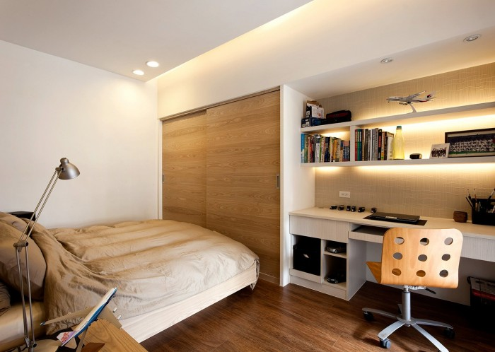 In the bedrooms the calming hues continue, which helps the decidedly compact designs of these sleep spaces to breathe.