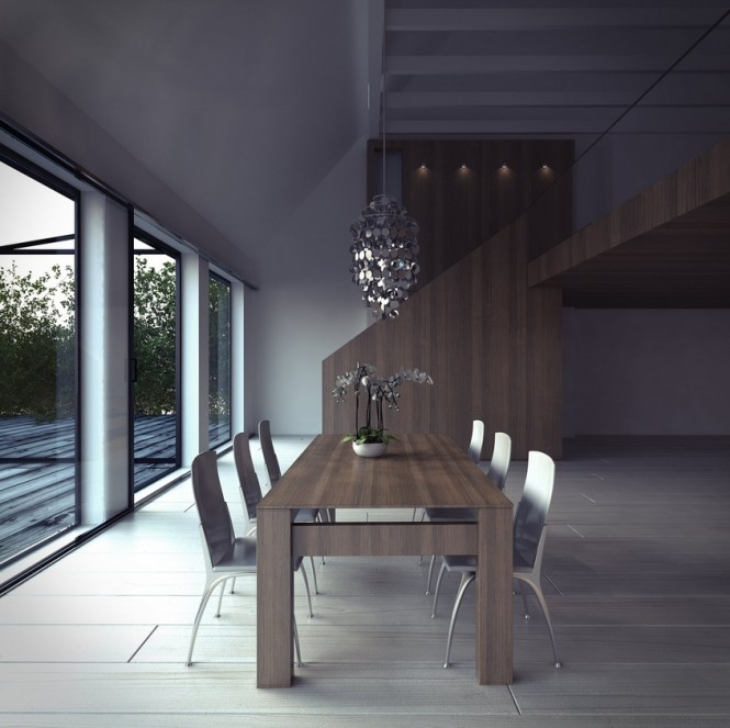 The metallic finish of these dining chairs is an unexpected choice, but one that gives a sharp contemporary edge to the soft wood tones of the rest of the scheme.