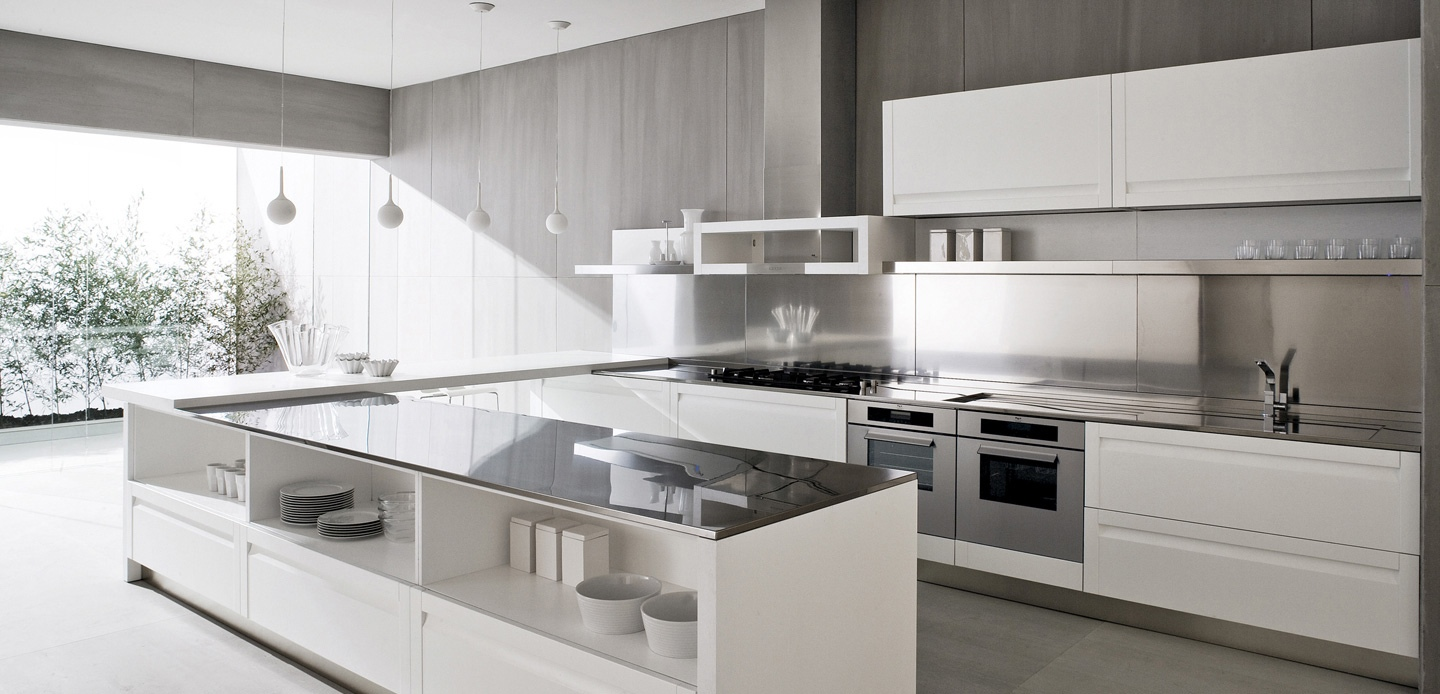 Contemporary white kitchen interior design ideas for Modern kitchen layout
