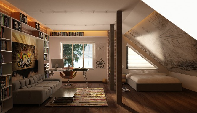 Via Alex GoreThis laid-back attic space utilizes space up to the rafters to house an extensive selection of literature and reference books with the desk situated to take full advantage of the largest source of natural light