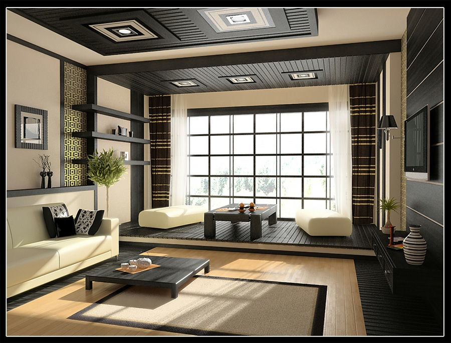 Cream black living room decor interior design ideas - Black accessories for living room ...