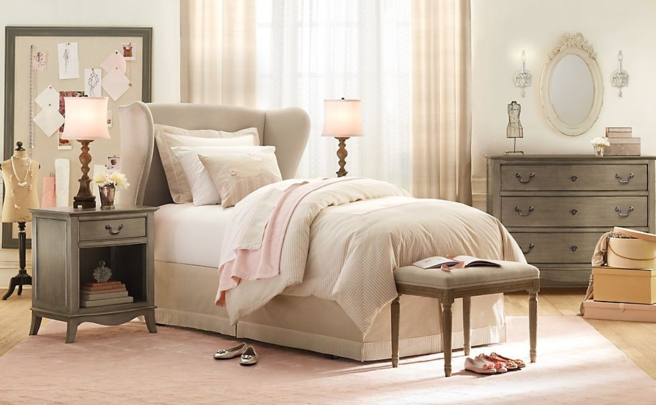 Cream pink gray girls room interior design ideas for Bedroom ideas cream