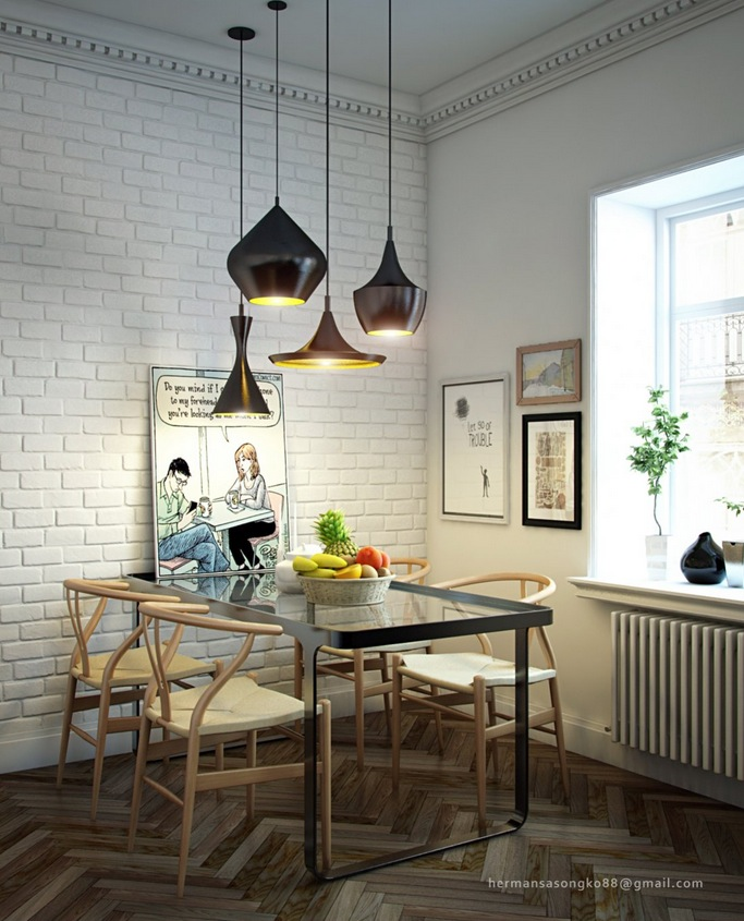 cluster of different shaped pendant lights gathered over a dining