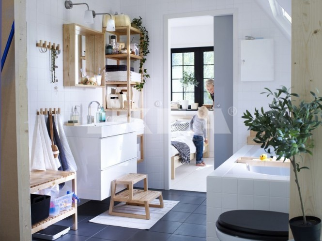 Bleached wood with gloss white provoke a clean Scandinavian design style, and lovely little touches like dual height pegs and booster steps make this a truly family friendly space.