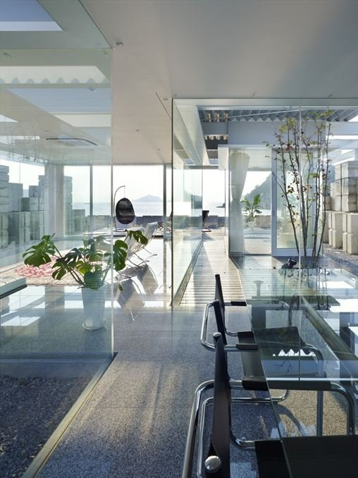 Glass walled dining room