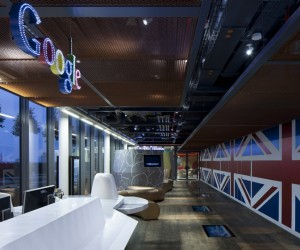 "Located at the Central St. Giles Building in Covent Garden, the 160,000sq.ft headquarters is home to both indoor and outdoor workplaces and meeting areas, a large gym and dance studio, cafés & restaurants, and a 200 person capacity event room that has been quirkily named the ""Town Hall."""