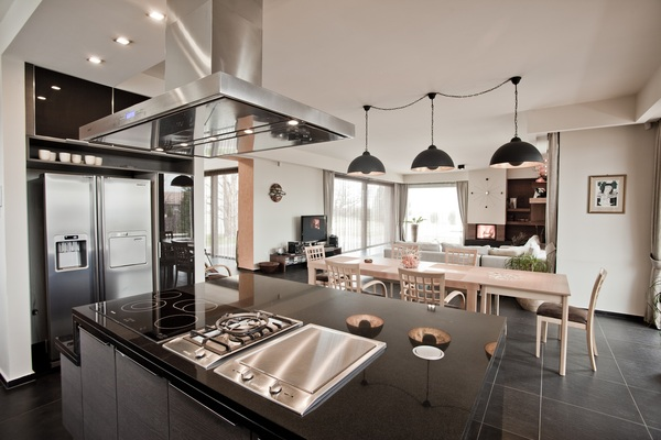 Gray black white kitchen