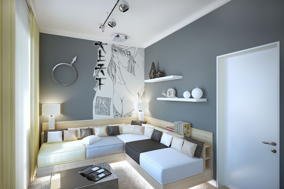 Gray white manga styleliving room interior design ideas White grey interior design